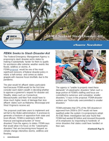 January eSource Newsletter : FEMA Seeks to Slash Disaster Aid
